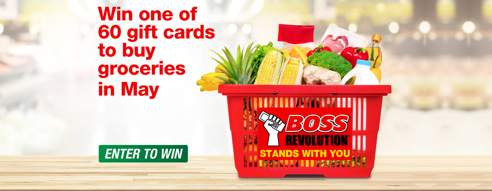 Enter for a chance to win a $50 gift card for food shopping with BOSS Revolution